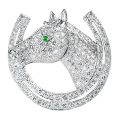 Diamond Equestrian Brooch of a Horses Head and Shoe in Platinum, English, 1963