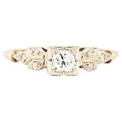 Diamond Estate Ring 14 Karat White and Yellow Gold Vintage Ring, circa 1940