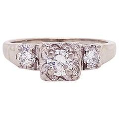 Diamond Estate Ring 14 Karat White Gold 0.56 Carat Diamond Weight Round