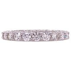 2.25 Carat Diamond Eternity 18 Karat White Gold Wedding Band Ring