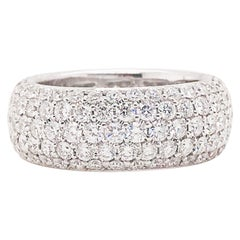 Diamond Eternity Band, 3.76 cttw  Diamond 18k White Cigar 5 Row Diamond Band