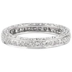Diamond Eternity Band 18 Karat White Gold with Filigree Work