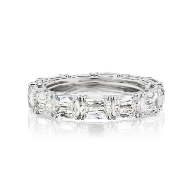 Modern Takat 5.05 Cts Diamond Eternity Band In Platinum, Each Stone Is GIA Certified  For Sale