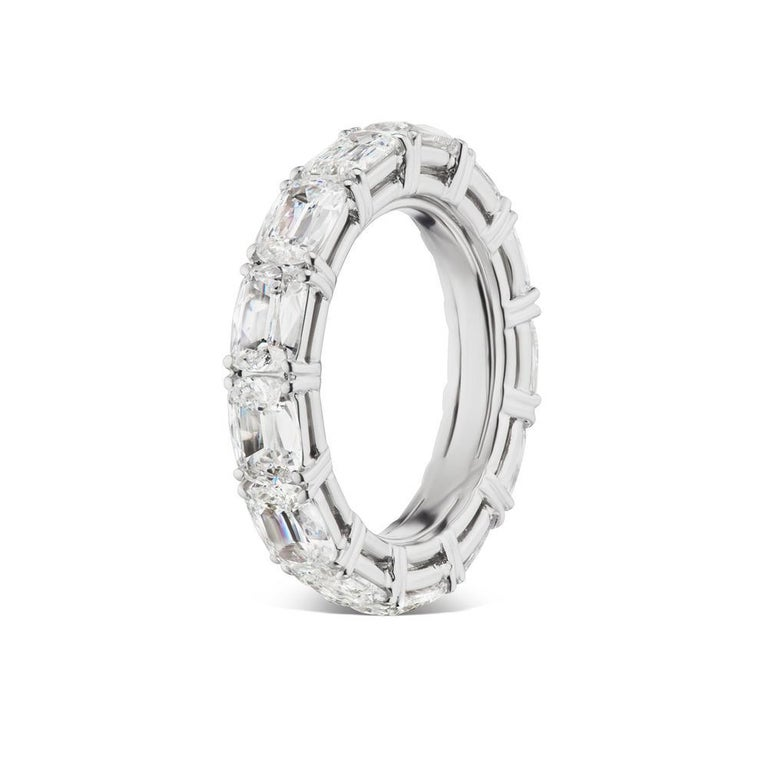 French Cut Takat 5.05 Cts Diamond Eternity Band In Platinum, Each Stone Is GIA Certified  For Sale