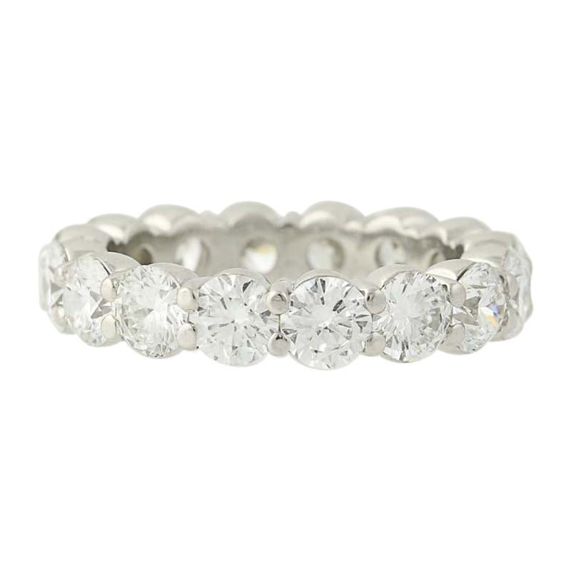 Diamond Eternity Band, Platinum Wedding Anniversary Ring Round Cut 4.16 Carat