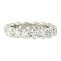 Diamond Eternity Band, Platinum Wedding Anniversary Ring Round Cut 4.16 Carat