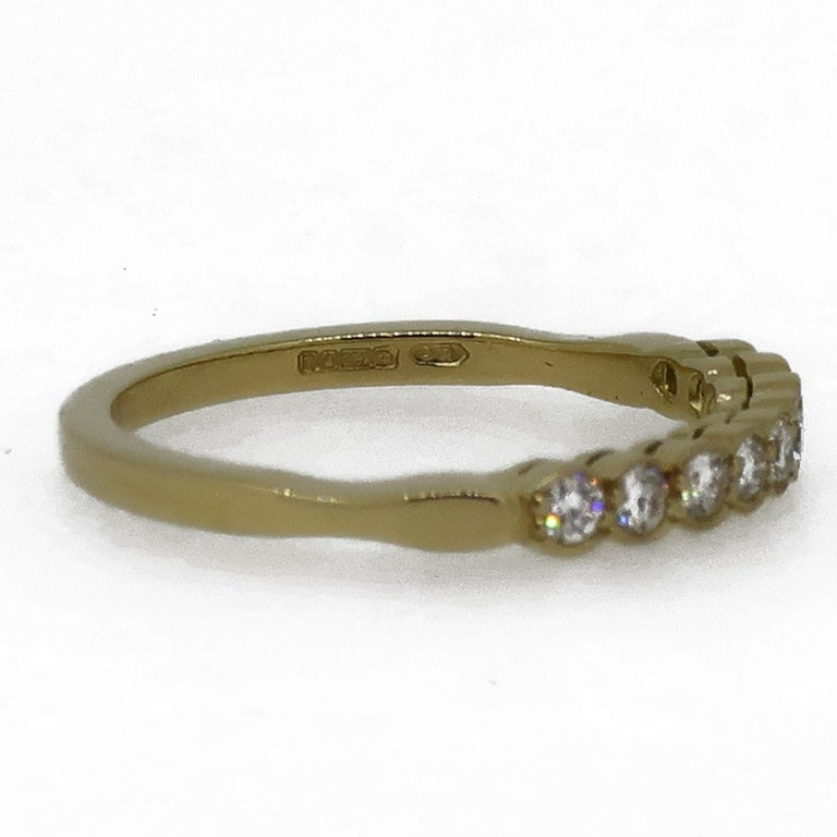 Brilliant Cut Diamond Eternity Band Ring 18 Karat Yellow Gold For Sale