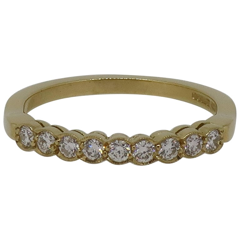 Diamond Eternity Band Ring 18 Karat Yellow Gold For Sale