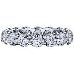 Diamond Eternity Band Ring Set in Platinum 4.82 Carat E/F Colors VS/SI