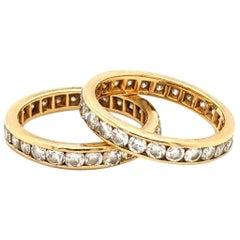Diamond Eternity Double Ring in 14 Karat Gold