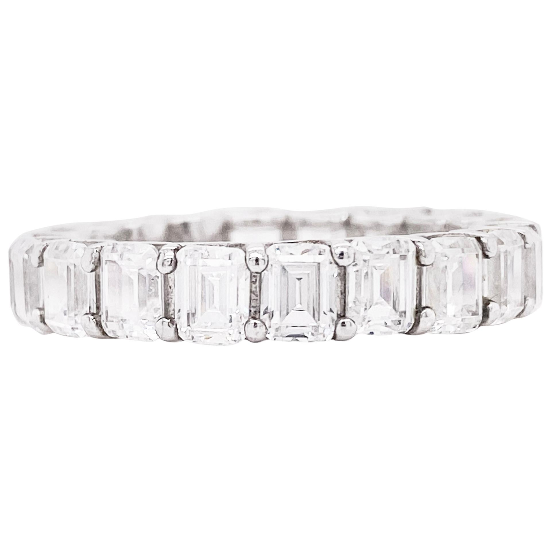 Diamond Eternity Emerald Cut Band, Eternity Diamond Band, Infinite Wedding Band
