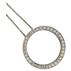 Diamond Eternity Pendant Necklace with White Gold
