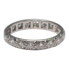 Brilliant Cut Diamond Eternity Platinum Engagement Band Ring, circa 1950s