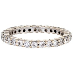 Diamond Eternity Ring 14 Karat White Gold Estate Fine Wedding Band Jewelry