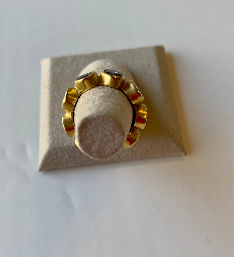 Classical Roman Diamond Eternity Ring 22 Karat Gold Yellow Gold For Sale