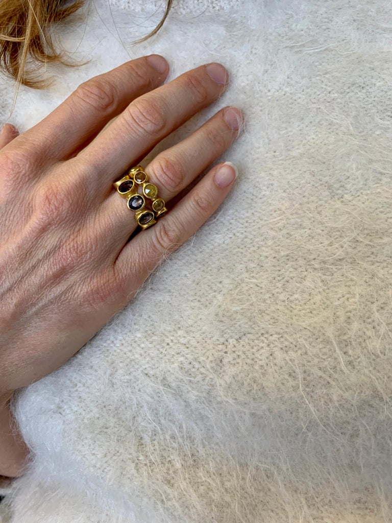 Diamond Eternity Ring 22 Karat Gold Yellow Gold In New Condition For Sale In New York, NY