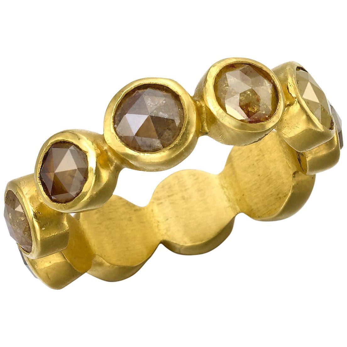 Diamond Eternity Ring 22 Karat Gold Yellow Gold