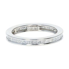 Diamond Eternity Wedding Band, 14 Karat White Gold Ring Princess Cut 1.60 Carat