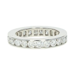 Diamond Eternity Wedding Band, Platinum Ring Round Cut 1.75 Carat