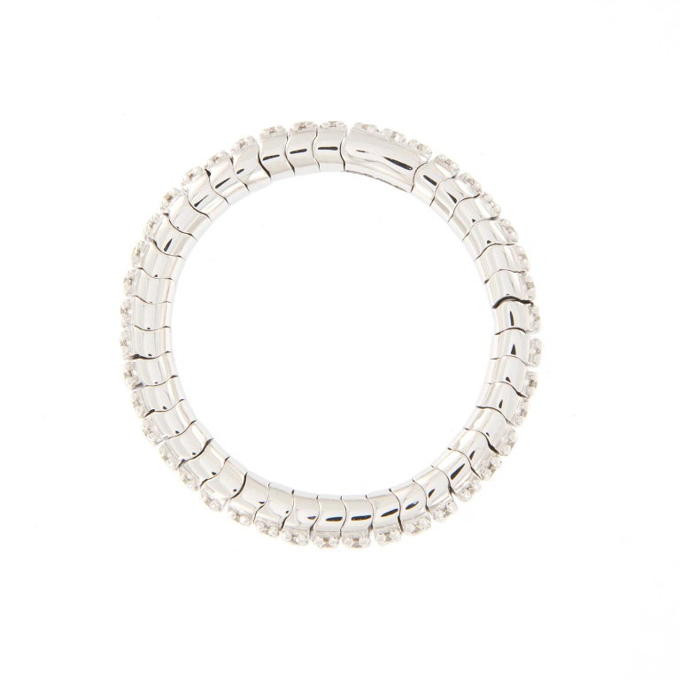 Diamond Eternity White Gold Flexible Band Ring In New Condition For Sale In Troy, MI