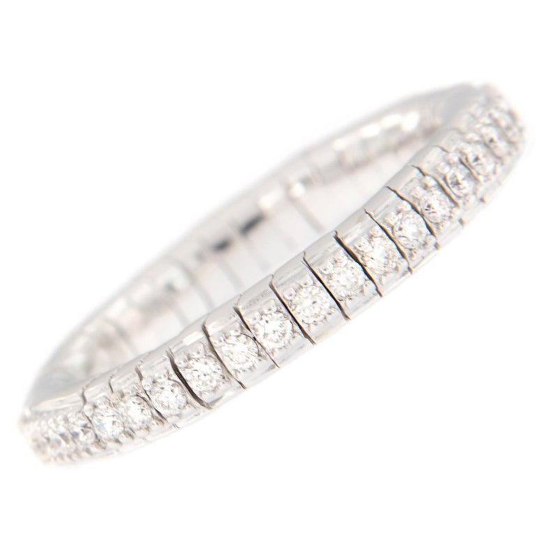 Diamond Eternity White Gold Flexible Band Ring For Sale