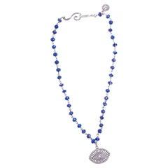 Diamond Evil Eye of Blue Lapis Necklace