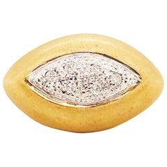 Diamond Eye Ring 18 Karat Gold Round Pave Diamond Eye Custom Satin Ring Design