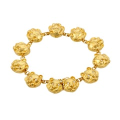 Diamond Eyes 18 Karat Gold Tiger Head Bracelet by John Landrum Bryant