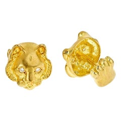 Diamond Eyes 18 Karat Yellow Gold Tiger Head Cufflinks by John Landrum Bryant