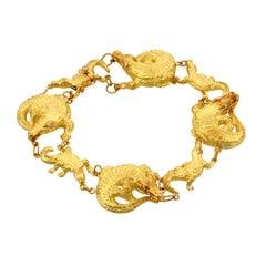 Diamond Eyes 18kt Gold Large and Small ALLIGATOR Bracelet by John Landrum Bryant