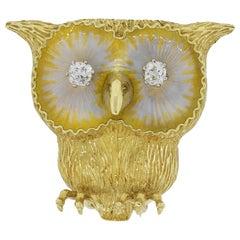 Diamond Eyes Owl Pin