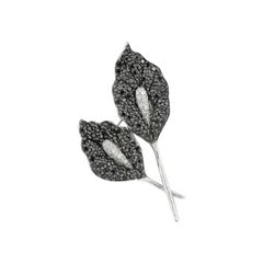 Diamond Fancy Spinel White Gold Brooch