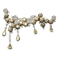 Diamond Fancy Yellow Gold Brooch