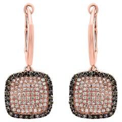 Diamond Fashion Rose Gold Lever Back Dangle Drop Earring