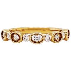 Diamond Fashion Stackable Band 14K Yellow Gold 0.29 Carat Diamond Wedding Band