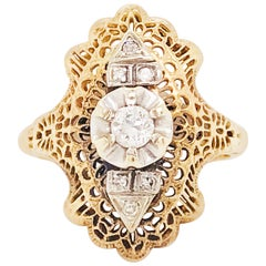 Diamond Filigree Estate Ring 14 Karat Yellow Gold 0.21 Carat Diamond Ring