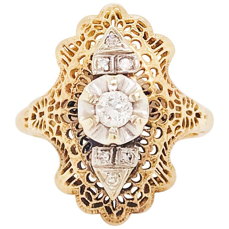 Diamond Filigree Estate Ring 14 Karat Yellow Gold 0.21 Carat Diamond Ring For Sale