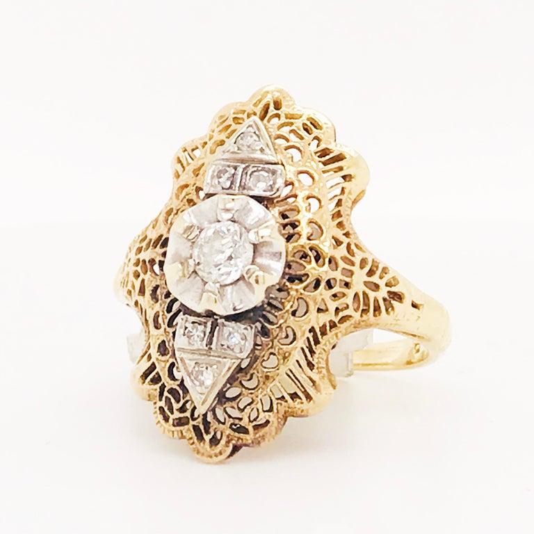 Old Mine Cut Diamond Filigree Estate Ring 14 Karat Yellow Gold 0.21 Carat Diamond Ring For Sale