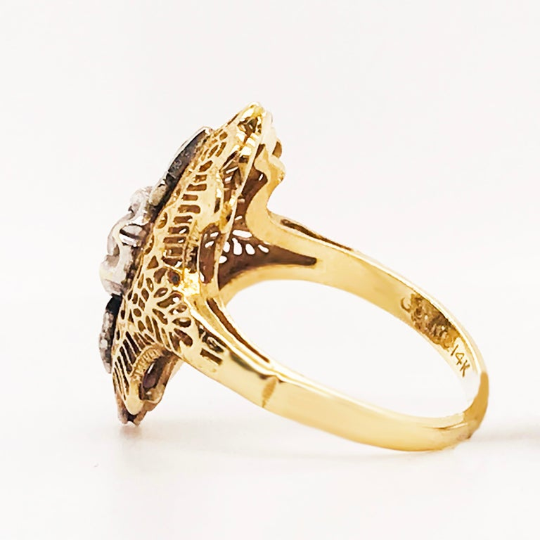 Diamond Filigree Estate Ring 14 Karat Yellow Gold 0.21 Carat Diamond Ring In Excellent Condition For Sale In Austin, TX