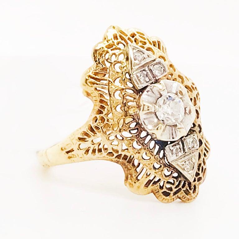 Women's Diamond Filigree Estate Ring 14 Karat Yellow Gold 0.21 Carat Diamond Ring For Sale
