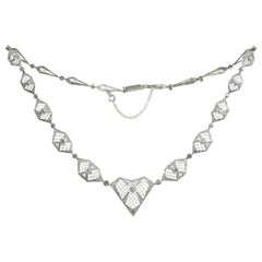 Diamond Filigree Platinum and White Gold Necklace
