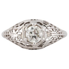 Diamond Filigree White Gold Ring