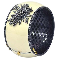 Diamond Fireworks Motif Cream Enamel Bangle