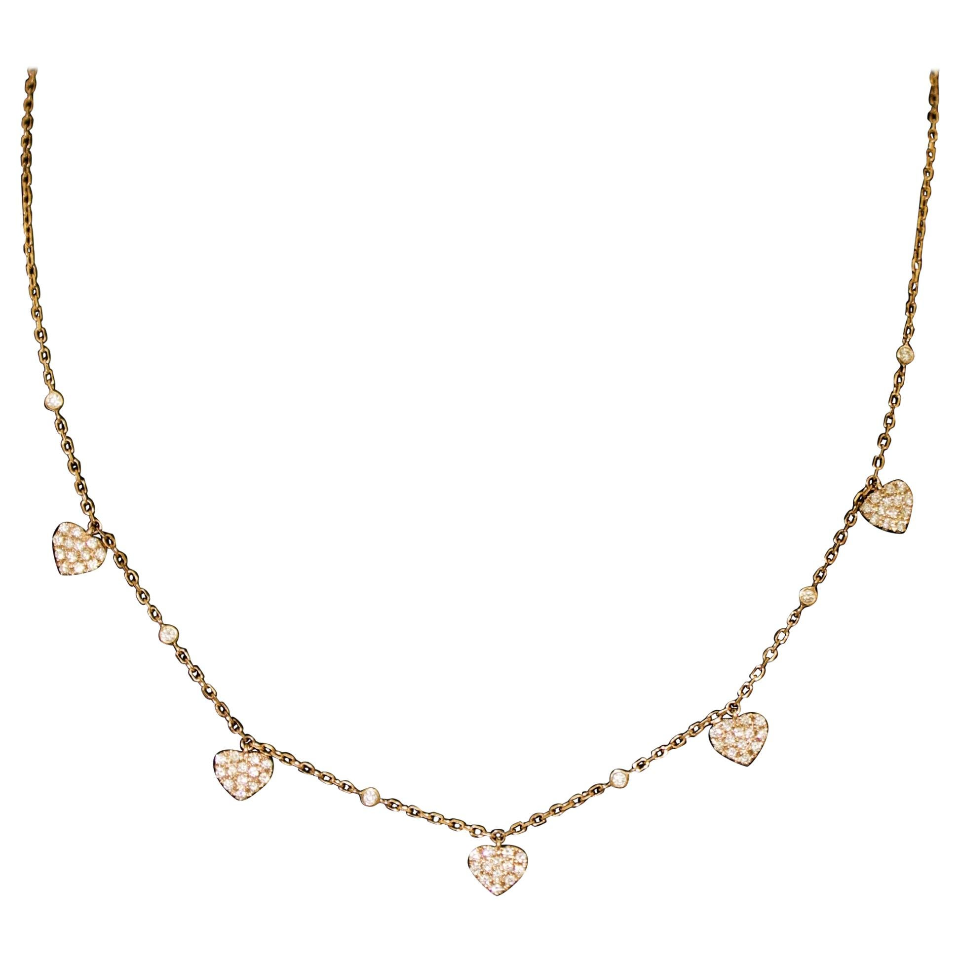 Diamond Five Heart Pave' Necklace in Rose Gold