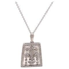 Diamond Fleur De Lis Design Hammer Finished Pendant Necklace 18k White Gold