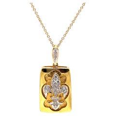 Diamond Fleur De Lis Design Hammer Finished Pendant Necklace 18k Yellow Gold