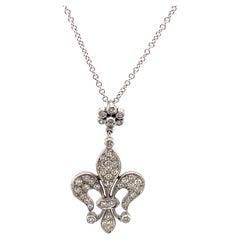 Diamond Fleur De Lis Design Pendant Necklace 18k White Gold