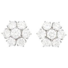 Diamond Fleurette White Gold Earrings 7.0 Carat