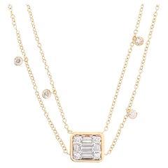 Diamond Floating 18 Karat Double Chain Pendant Necklace