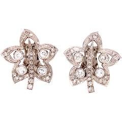 Diamond Floral 18 Karat White Gold Lever Back Estate Earrings